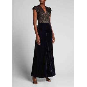 Giorgio Armani Velvet & Lace Dress w/ Floral Applique  - female - BLACK - Size: 44 IT (8 US)