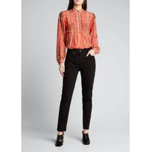 Etro Auxious Collared Paisley Top  - female - RED PATTERN - Size: 46 IT (12 US)