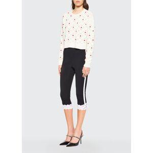 Miu Miu Rose Embroidered Cashmere Sweater  - female - F0L86LATTE - Size: 40 IT (4 US)