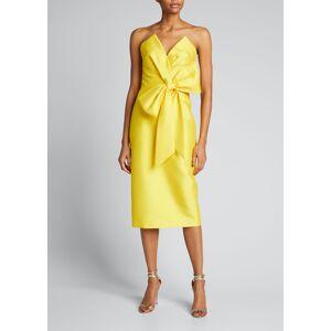 Badgley Mischka Bustier Cocktail Dress w/ Asymmetric Bow  - female - MARIGOLD - Size: 0