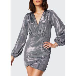 Ramy Brook Bonny Puff-Sleeve Metallic Dress  - SILVER - Size: Small
