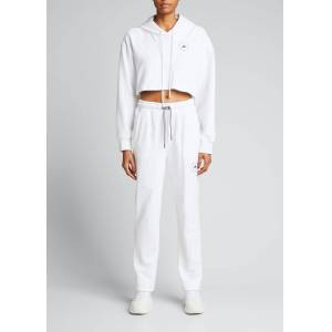 adidas by Stella McCartney Cropped French Terry Hoodie  - female - WHITE - Size: Small