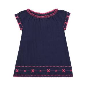 Mer St Barth Girl's Hadley Embroidered Off-the-Shoulder Dress, Size 2-10  - female - NAVY - Size: 4
