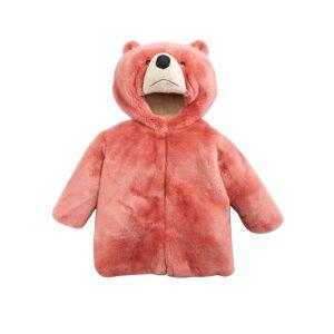 Dolce & Gabbana Rosa Faux-Fur Teddy Bear Hooded Coat, Size 8-12