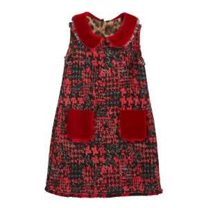 Dolce & Gabbana Girl's Sleeveless Tweed Dress w/ Velvet Details, Size 8-12