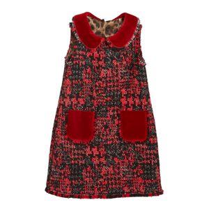 Dolce & Gabbana Girl's Sleeveless Tweed Dress w/ Velvet Details, Size 4-6