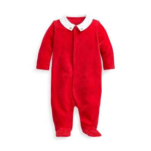 Ralph Lauren Boy's Velour Footed Coverall w/ Broadcloth Collar, Size 3-9 Months