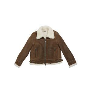 Brunello Cucinelli Girl's Shearling Zip Front Jacket w/ Monili Trim, Size 8-10