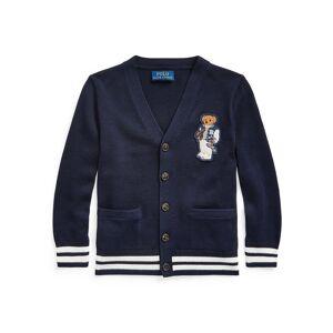 Ralph Lauren Boy's Football Bear Patch Sweater Cardigan, Size 5-7