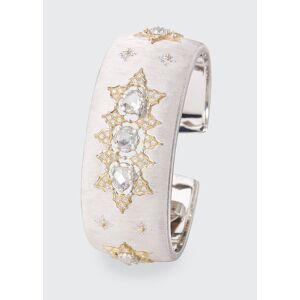 Buccellati Limited Edition Cuff Bracelet in 18k White and Rose Gold with Rose Cut Diamonds  - female