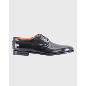 Santoni Men's Calf Leather Lace-Up Shoes  - BLACK - BLACK - Size: 10D