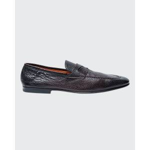 Santoni Men's Textured Leather Penny Loafers  - male - DK BROWN - Size: 13D