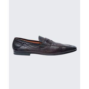 Santoni Men's Textured Leather Penny Loafers  - DK BROWN - DK BROWN - Size: 13D
