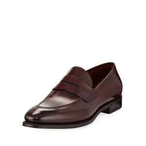 Santoni Duke Leather Penny Loafer  - male - BROWN - Size: 9 UK (10D US)