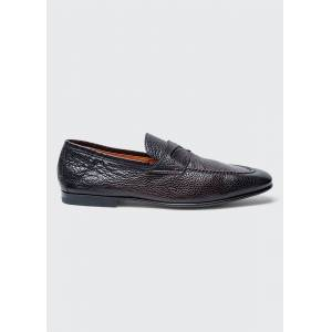 Santoni Men's Textured Leather Penny Loafers  - male - DK BROWN - Size: 9D