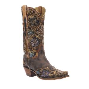 Lucchese Drea Distressed Floral Boots (Made to Order)  - female - DARK BROWN - Size: 9.5B / 39.5EU