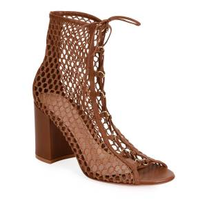 Gianvito Rossi Fishnet Lace-Up Booties  - female - BROWN - Size: 6B / 36EU