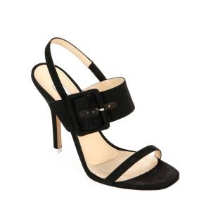 The Attico Mariah Fabric Buckle Sandals  - female - BLACK - Size: 9.5B / 39.5EU