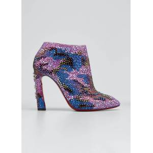 Christian Louboutin Eleonor Bling Bang Studded Red Sole Booties  - female - BLACK - Size: 11B / 41EU