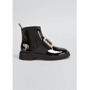 Roger Vivier Viv' Rangers Patent Chelsea Booties with Crystal Buckle  - female - BLACK - Size: 5.5B / 35.5EU