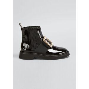 Roger Vivier Viv' Rangers Patent Chelsea Booties with Crystal Buckle  - female - BLACK - Size: 7B / 37EU