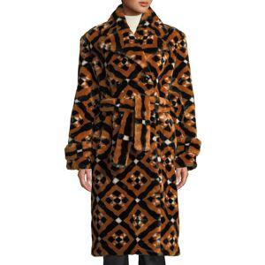 Mary Katrantzou Stokes Double-Breasted Tie-Waist Tile-Print Faux-Fur Midi Coat
