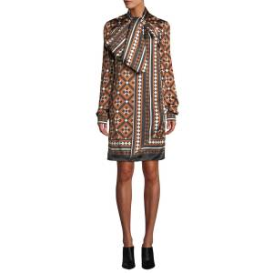 Mary Katrantzou Lyonel Long-Sleeve Tile-Print Cocktail Dress w/ Large Bow Detail