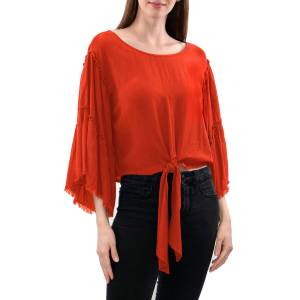 Anna Cai Rayon Gauze Tie-Front Woven Top