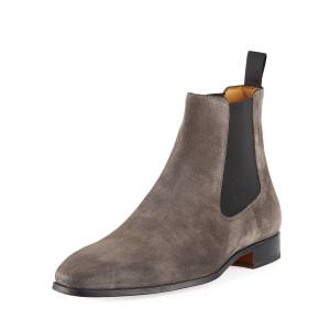 Magnanni for Neiman Marcus Hand-Antiqued Suede Gored Boots