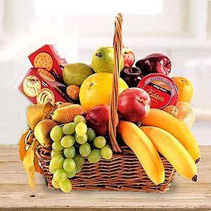 Cheese, Crackers & Fruit Basket