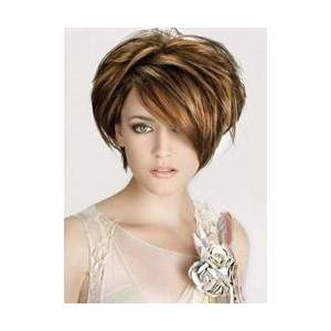Unique Short Layered Straight Monofilament Top Human Hair Wig 8 Inches