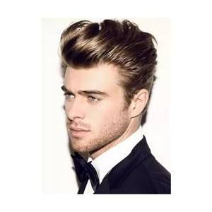 Half Shaved Voluminous Short Cut Human Straight Full Lace Wig For Men