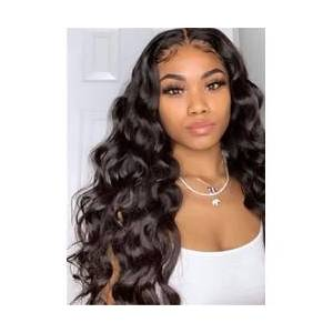 Middle Part Long Wavy Human Hair Women Wigs 22 Inches