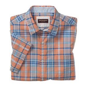 Johnston & Murphy Men's Short-Sleeve Seersucker Shirt - Orange Large Plaid - Size L