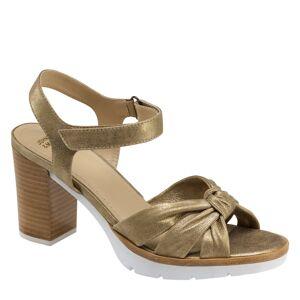 Johnston & Murphy Women's Kaci Ankle Strap Sandal Sandal - Gold Metallic Suede - Size 7.5 - M