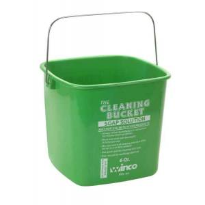 Winco Cleaning Bucket, 6 Qt, Green Soap Solution