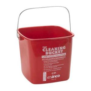 Winco Cleaning Bucket, 6 Qt, Red Sanitizing Solution