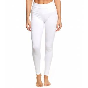 Hard Tail Women's High Waisted Cotton Ankle Yoga Leggings - White Large
