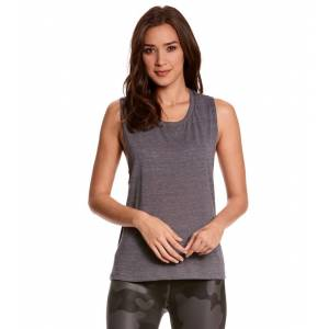 Bella + Canvas Women's Flowy Scoop Workout Muscle T-shirt - Asphalt Slub XX-Large Cotton