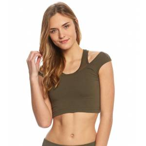 Hard Tail Women's Mesh Layer Crop Tank Top - Olive X-Small Cotton