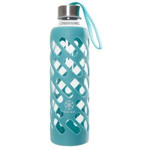 Gaiam Sure Grip Glass Water Bottle 20oz Viridian Steel