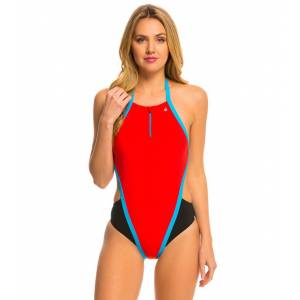 Aqua Sphere Stella One Piece Swimsuit - Red/Blue 36 Elastane/Polyamide - Swimoutlet.com