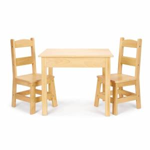 Melissa & Doug Solid Wood Table & Chairs 3-Piece Set