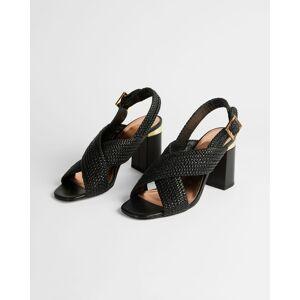 Ted Baker Woven Cross Over Block Heel Sandal  - Black - Size: US 7