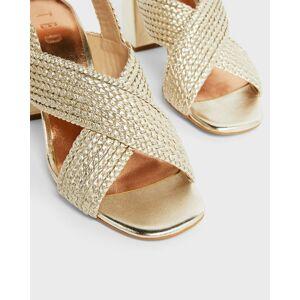 Ted Baker Woven Cross Over Block Heel Sandal  - Gold - Size: US 7