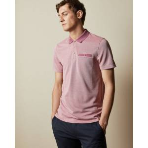 Ted Baker Flat Knit Oxford Polo Top  - Pink - Size: Large