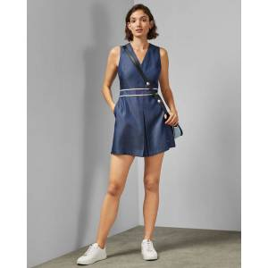 Ted Baker Lyocell Playsuit  - Mid Wash - Size: Ted Size 4 (US 10)