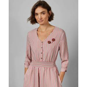 Ted Baker V Neck Shirt Dress  - Pink - Size: Ted Size 4 (US 10)