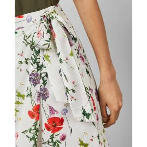 Ted Baker Hedgerow Wrap Midi Skirt  - White - Size: Ted Size 1 (US 4)