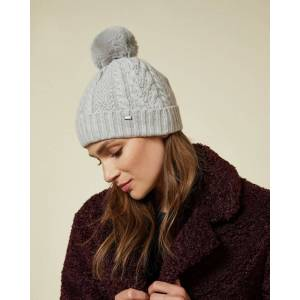 Ted Baker Cable Knit Pom Hat  - Light Gray - Size: One Size